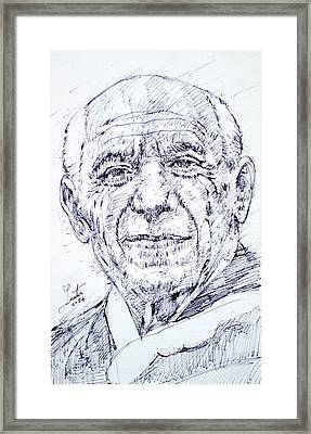 Pablo Picasso - Drawing Portrait Framed Print by Fabrizio Cassetta