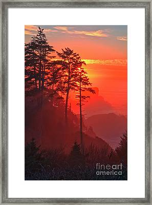 Pacific Fire And Fog Framed Print by Adam Jewell