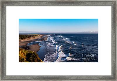 Pacific Ocean And The Columbia River Framed Print by Robert Bales