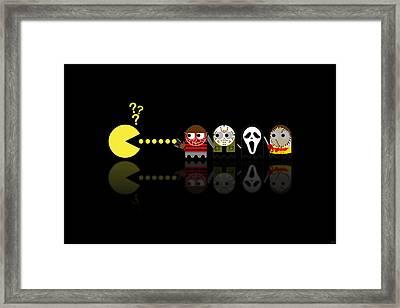Pacman Horror Movie Heroes Framed Print by NicoWriter