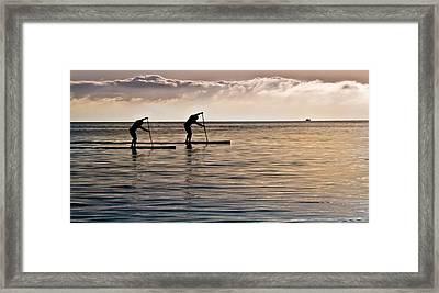 Paddle Surfing Framed Print by Eva Kondzialkiewicz