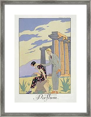 Paestum Framed Print by Georges Barbier