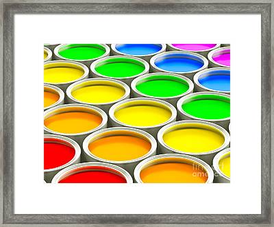 Paint Cans - Colorful Spectrum Version Framed Print by Shazam Images