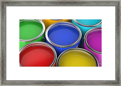 Paint Cans Open Framed Print by Bruno Haver