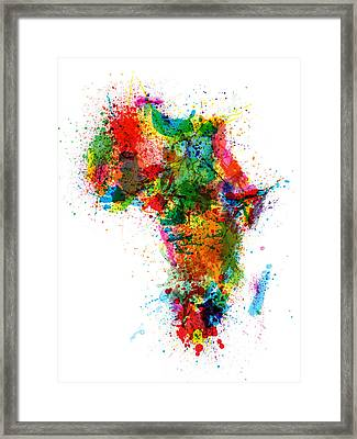 Paint Splashes Map Of Africa Map Framed Print by Michael Tompsett