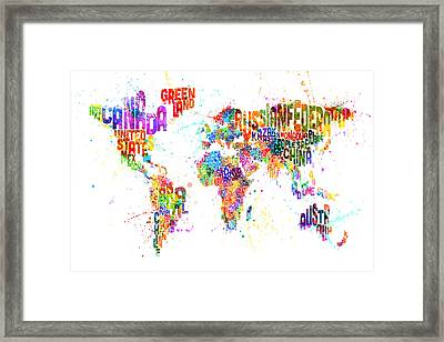 Paint Splashes Text Map Of The World Framed Print by Michael Tompsett
