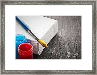 Paintbrush On Canvas Framed Print by Elena Elisseeva