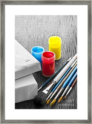 Paintbrushes With Canvas Framed Print by Elena Elisseeva