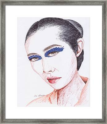 Painted Face Framed Print by M Valeriano