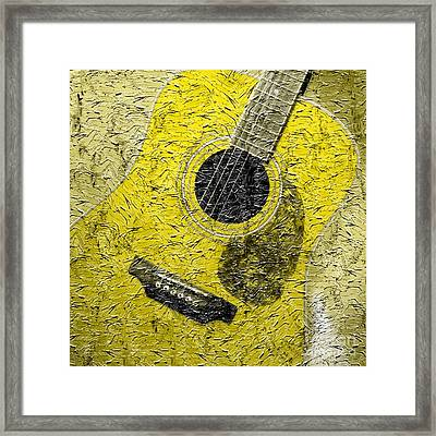 Painted Guitar - Music - Yellow Framed Print by Barbara Griffin