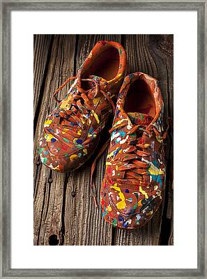 Painted Tennis Shoes Framed Print by Garry Gay