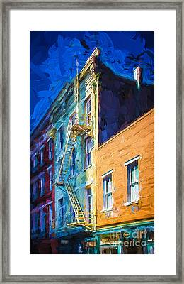 Painted Urban Street Framed Print by Perry Webster