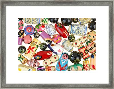 Painted Wooden Beads Framed Print by Jim Hughes
