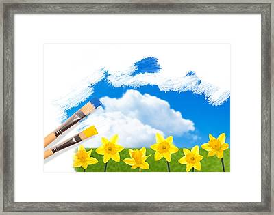 Painting Daffodils Framed Print by Amanda And Christopher Elwell