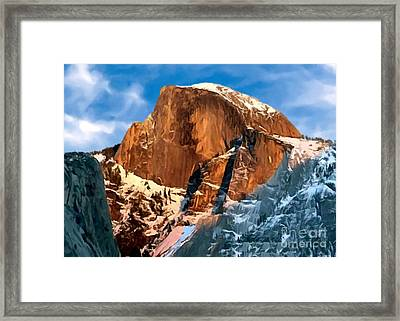 Painting Half Dome Yosemite N P Framed Print by Bob and Nadine Johnston