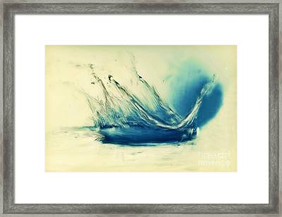 Painting Of Fresh Water Splash Framed Print by Michal Bednarek