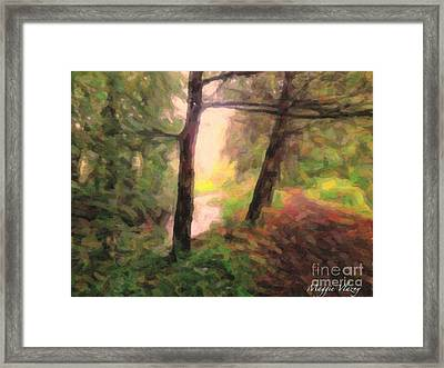 Landscape Painting Of Path Into Woods Framed Print by Maggie Vlazny