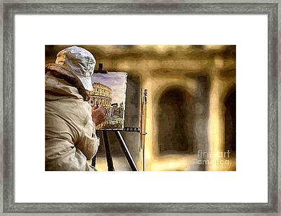 Painting The Colosseum Framed Print by Stefano Senise
