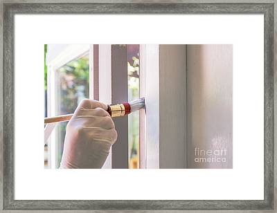 Painting With White Framed Print by Patricia Hofmeester