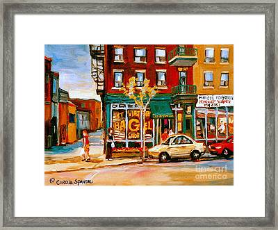 Paintings Of  Famous Montreal Places St. Viateur Bagel City Scene Framed Print by Carole Spandau