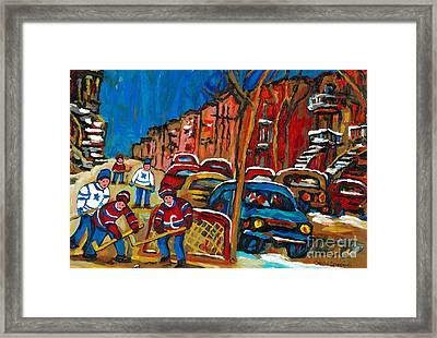Paintings Of Montreal Hockey City Scenes Framed Print by Carole Spandau