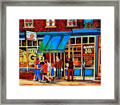 Paintings Of Montreal Memories Bagel And Bread Shop St. Viateur Boulangerie Depanneur City Scenes Framed Print by Carole Spandau