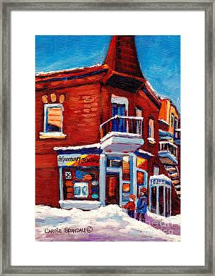 Paintings Of Verdun Depanneur 7 Jours Montreal Winter Street Scenes By Carole Spandau Framed Print by Carole Spandau