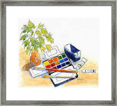 Paints And Brushes Framed Print by Pat Katz