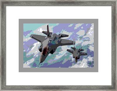 Pair Of F-35 Lightenings In Formation Enhanced Framed Print by L Brown