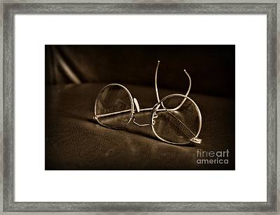 Pair Of Glasses Black And White Framed Print by Paul Ward