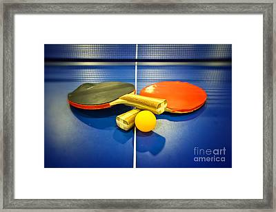 Pair Of Ping-pong Bats Table Tennis Paddles Rackets On Blue Framed Print by Beverly Claire Kaiya