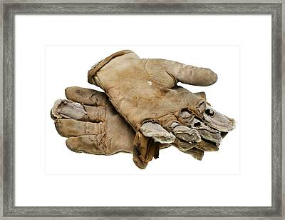 Pair Of Worn Out Leather Work Gloves Framed Print by Donald  Erickson