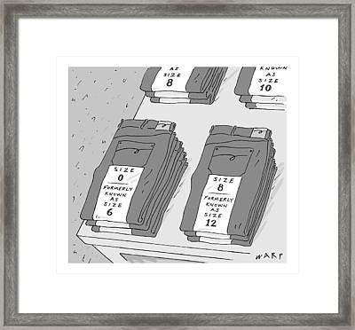 Pairs Of Jeans Are Seen With Tags Listing Framed Print by Kim Warp