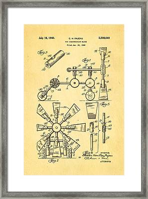 Pajeau Tinker Toy Patent Art 1940 Framed Print by Ian Monk
