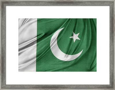 Pakistan Flag  Framed Print by Les Cunliffe