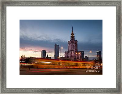 tram motion and Palace of Science and Culture  Framed Print by Arletta Cwalina