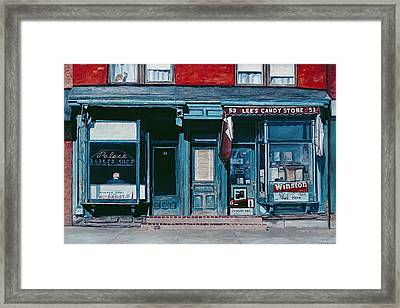 Palace Barber Shop And Lees Candy Store Framed Print by Anthony Butera