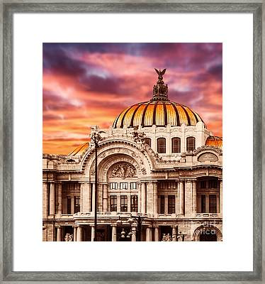 Palace Of Fine Arts In Mexico City Framed Print by Anna Om
