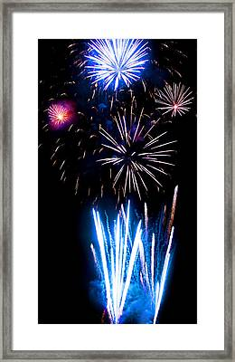Pale Blue And Red Fireworks Framed Print by Weston Westmoreland