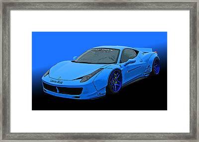 Pale Blue Ferrari 458 Italia Framed Print by Samuel Sheats