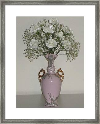 Pale Vase White Flowers Framed Print by Good Taste  Art