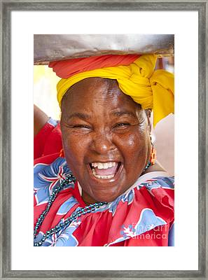 Palenquera In Cartagena Colombia Framed Print by David Smith