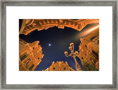 Palermo - Quattro Canti At Night Framed Print by Martin Liebermann