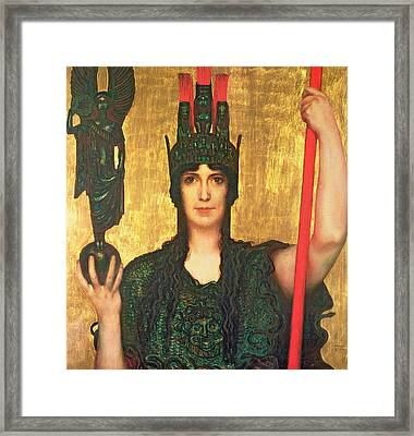 Pallas Athena Framed Print by Franz Von Stuck