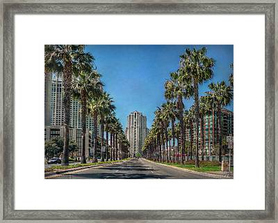 Palm-lined Parkway Framed Print by Hanny Heim