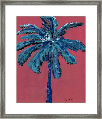 Palm On Pink  Framed Print by Oscar Penalber