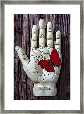 Palm Reading Hand And Butterfly Framed Print by Garry Gay