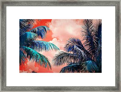 Palmscape Red Framed Print by Laura Fasulo
