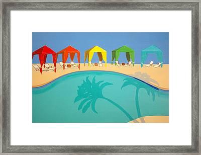 Palm Shadow Cabanas Framed Print by Karyn Robinson