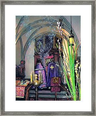 Palm Sunday Liturgy Framed Print by Sarah Loft